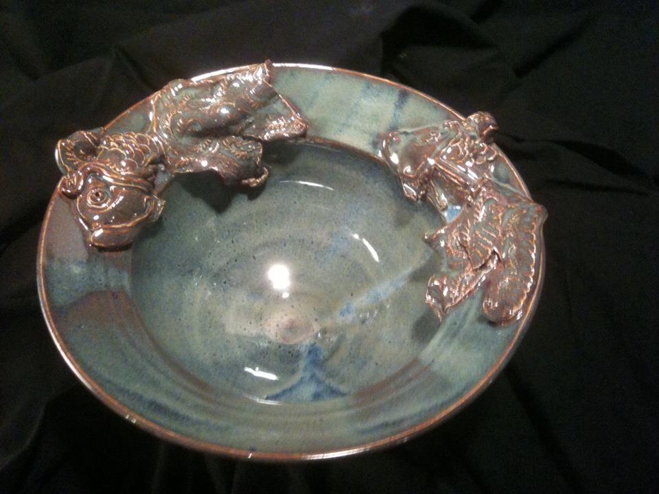 Bowl with Fish on Rim