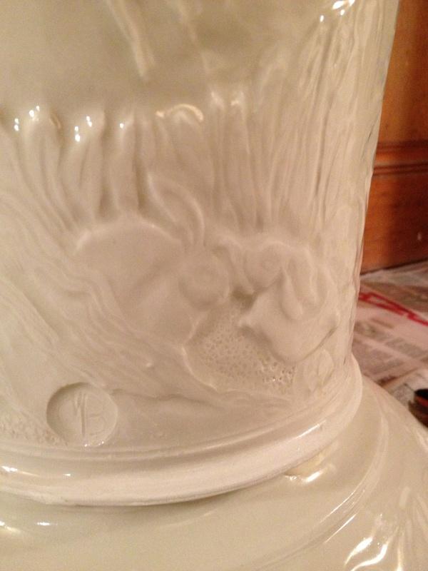 Stork Porcelain Lantern Detail